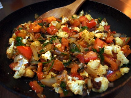 Oven-Roasted Cauliflower with Fiery Vegetable Medley