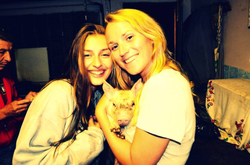 Getting too drunk and playing with piglets