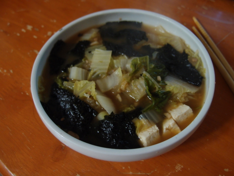 Korean Cabbage and Seaweed Soup