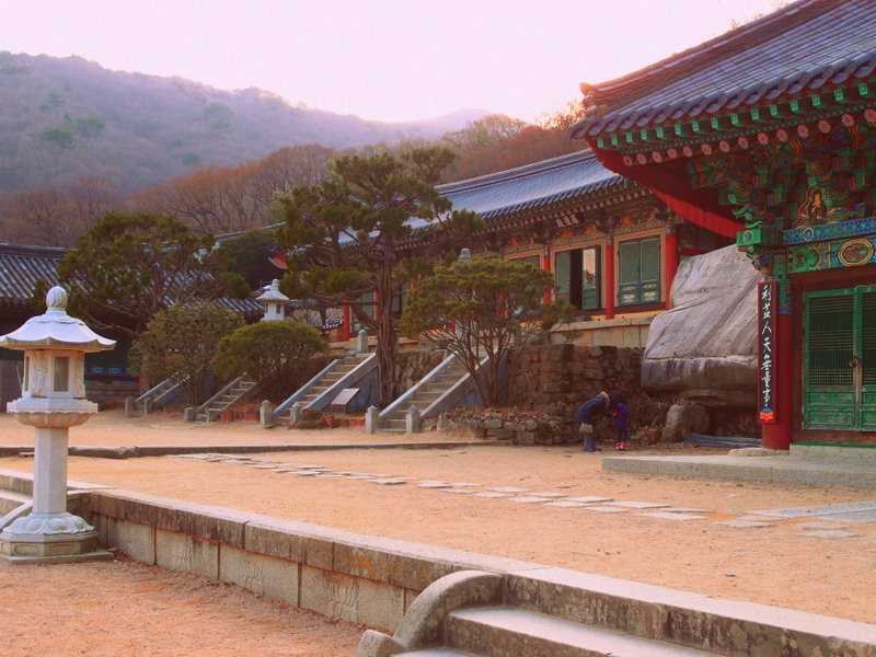 One of the main courtyards at Beomeosa Temple