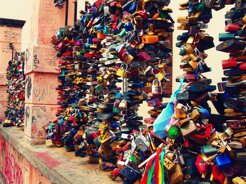 Love Locks in Mala Strana, Prague