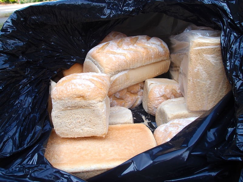 12 loaves of bread thrown out by a bakery in England