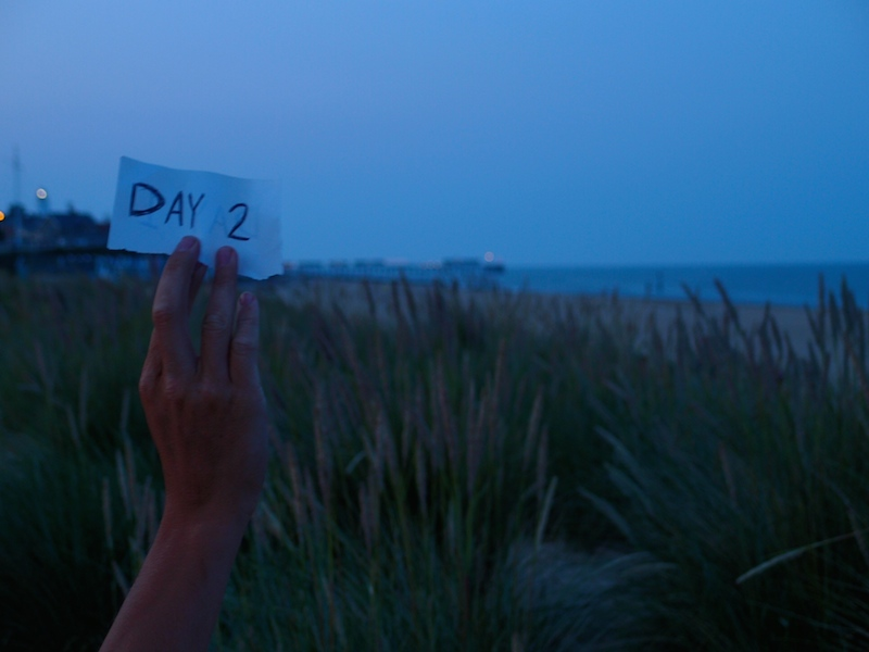 Day 2: Sleeping in dunes on the beach, England