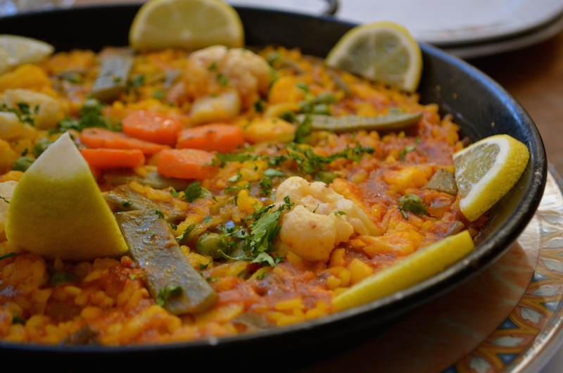 Paella: one of Spain's traditional dishes; they even made a veggie version for this typically seafood-heavy dish