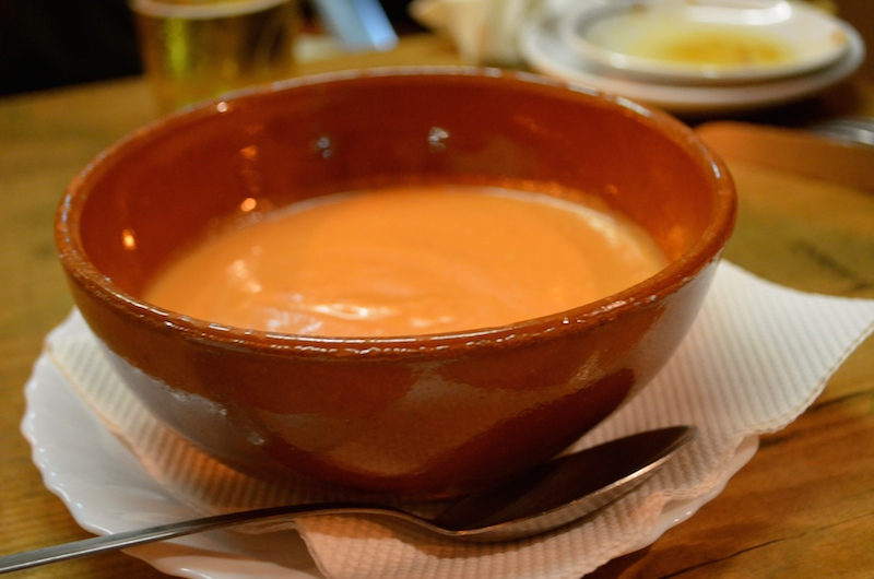 Salmorejo: blended tomato gazpacho (cold soup); just make sure to ask for it sans jamon